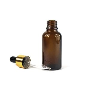 30ml Amber Glass Bottle with Glass Eye Dropper with golden cap (1oz)